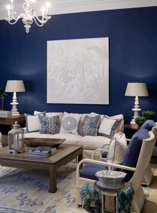 Azul para la decoraci n de salones decoracion in for Sala gris con azul