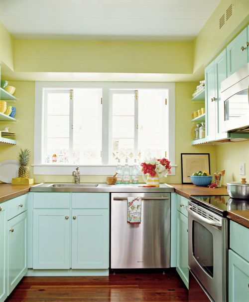 20 Modern Kitchens Decorated In Yellow And Green Colors: Azul, Turquesa Y Verde, Colores Para Un Salón Y Una Cocina