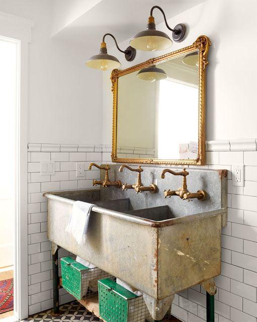 baño industrial y vintage