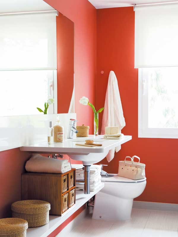 Baño De Color Rojo Intenso Mercadona:Cómo Decorar Baños Modernos con Color – DecoracionIN