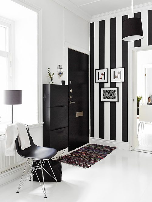 Decoracion De Baños Pequenos Departamentos:Blanco y Negro en un Recibidor Actual – DecoracionIN