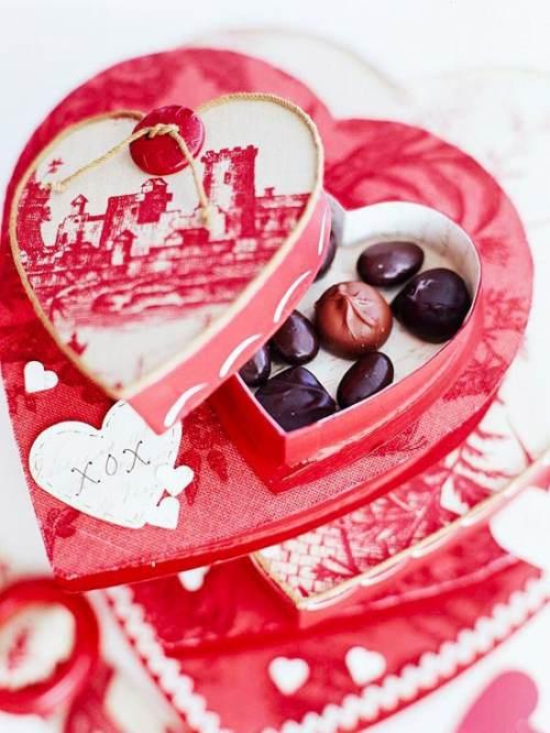 chocolates en cajas decoradas con tela