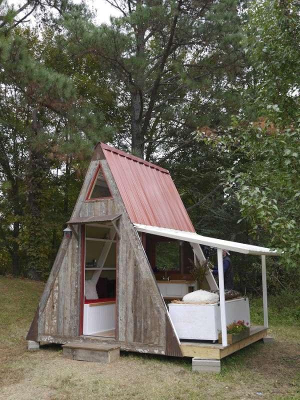 cabaña con porche plegable