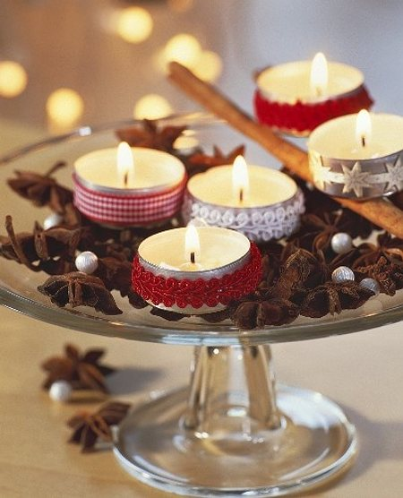 Pin centros mesa con vasos copas parte portal on pinterest - Centros con velas ...