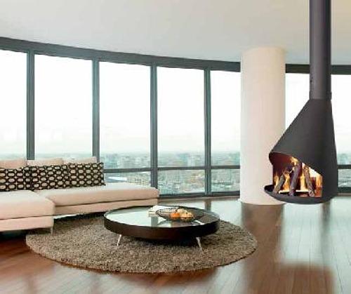 chimeneas modernas en casas contemporáneas