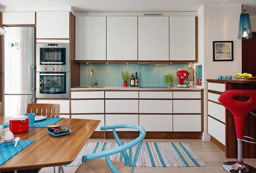 Cocina moderna en rojo y turquesa decoracion in for Comedor y cocina modernos
