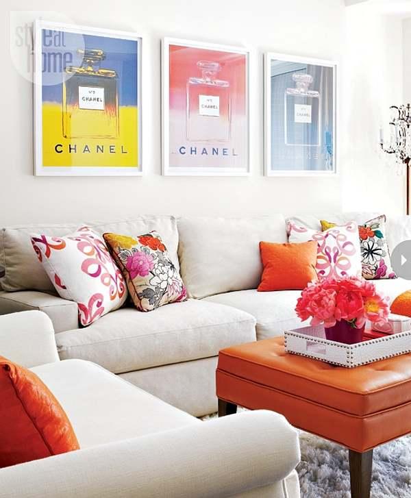 color naranja en el salón