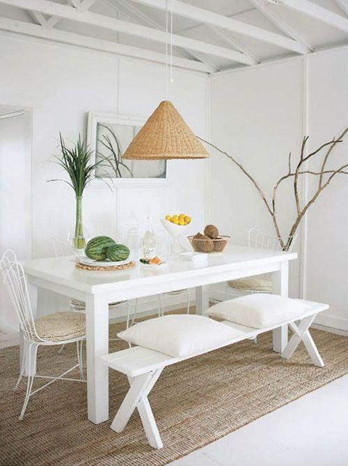Comedor decoraci n en blanco moderno y sencillo - Decorar en blanco y madera ...