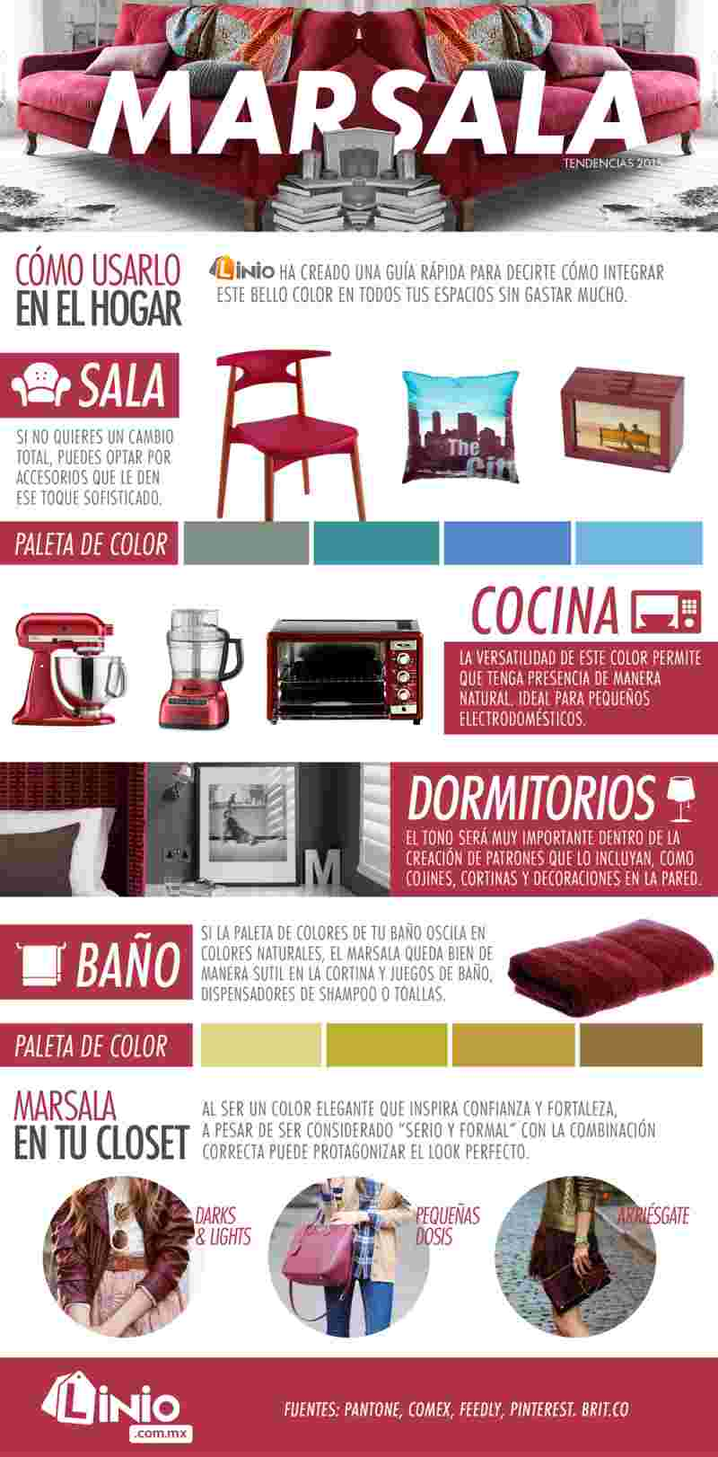cómo decorar con color marsala