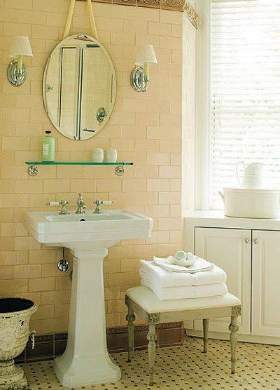 decoración de baños con espejos exentos