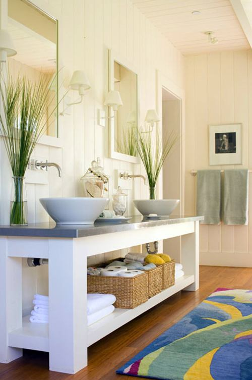 Decoraci n de ba os con dos lavabos decoracion in - Decoracion pared bano ...