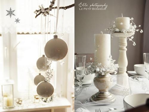decoración para la mesa en blanco