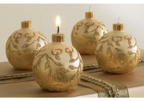 Decoraci n de navidad centros de mesa con velas - Adornos navidenos con velas ...