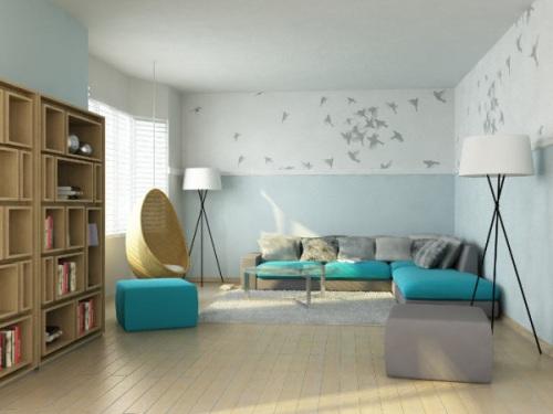 decoraci n salones espacio minimalista y turquesa