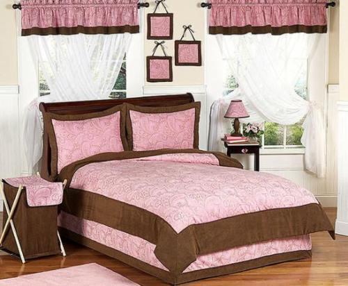 Rosa y marr n para el dormitorio de las ni as pink and for Decoracion de la habitacion de nina rosa
