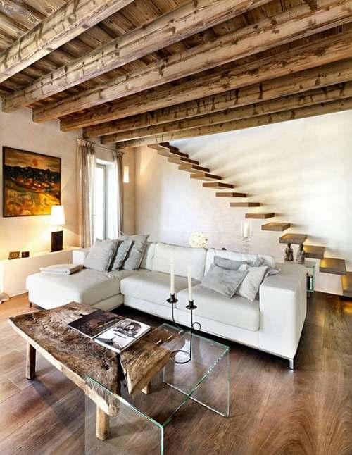 Escaleras en casas contempor neas decoracion in - Muebles estilo rustico moderno ...