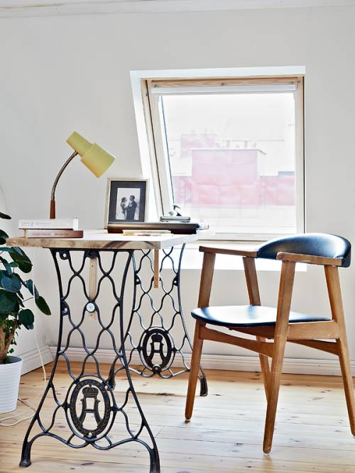 Un escritorio creativo y con aire vintage para una oficina - Escritorio vintage ...