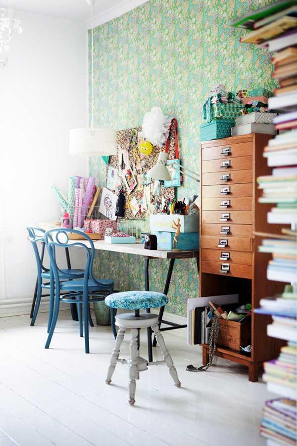 espacio de trabajo vintage y azul