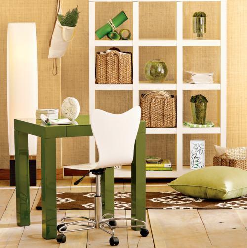 Oficina peque a en verde y blanco decoracion in - Colores de oficinas pequenas ...
