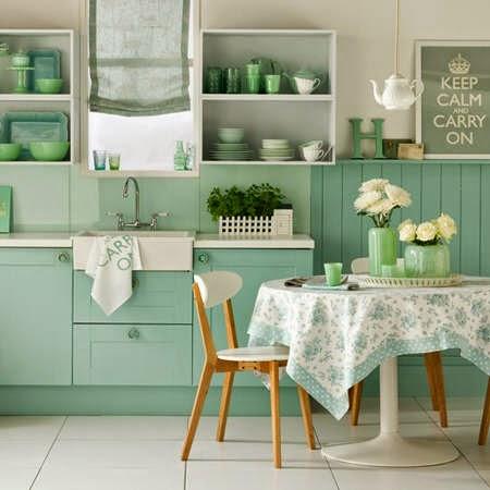interiores en verde Mint