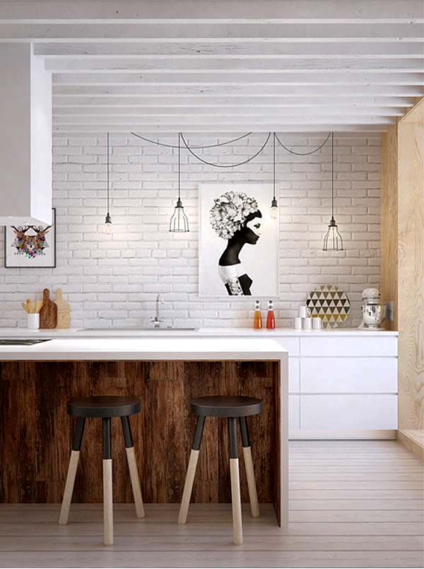 lámparas con estilo en la cocina