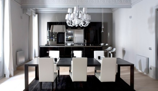 Loft en el g tico dise o de interior blanco y negro - Diseno de lofts interiores ...