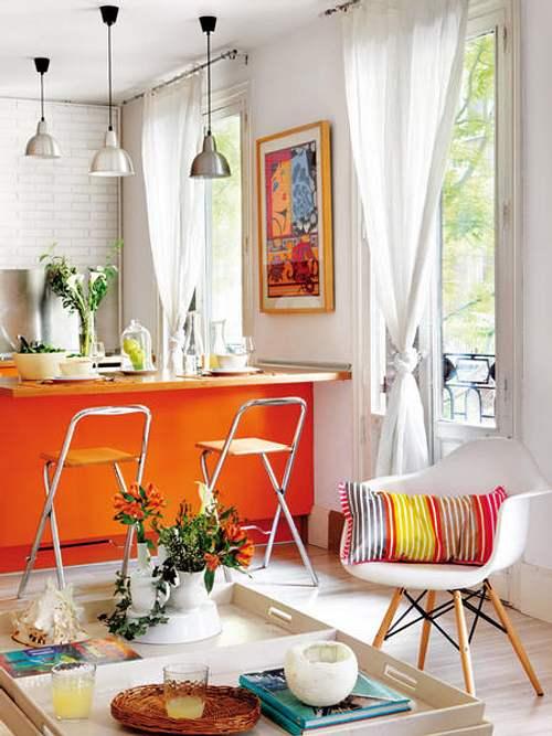 Moderna cocina color naranja abierta y luminosa - Cocinas color naranja ...