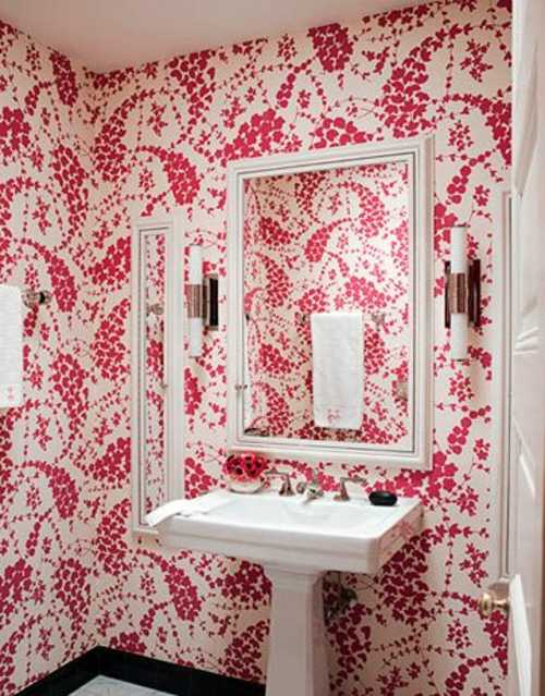 Papel tapiz en el cuarto de ba o decoracion in - Papel banos decoracion ...
