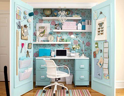 Idea para espacios peque os la oficina en el armario - Hogar del mueble ingenio ...
