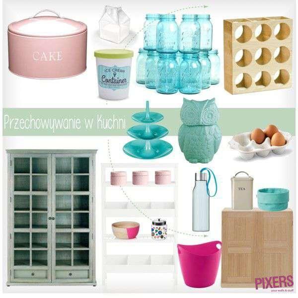 Aprovecha las posibilidades que dan las cajas de color, envolturas y cómodas multiniveles. ¡Haz que la cocina te inspire! - PIXERS / Polyvore
