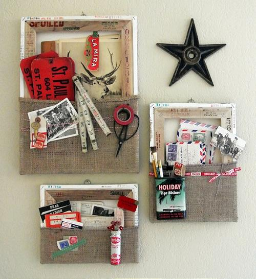 Decoracion De Baño Con Material Reciclado:DIY Canvas Wall Pockets