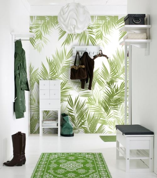 Un recibidor moderno fresco y en colores verde y blanco - Recibidor moderno blanco ...