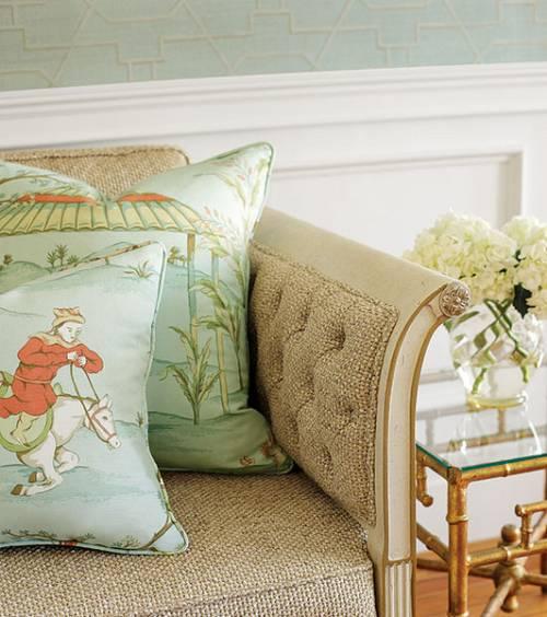 telas y colores en los cojines