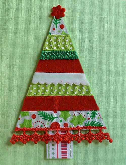 Bello arbolito realizado con cintas encajes y tiras - Adornos navidenos de tela ...