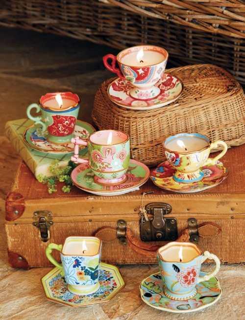 velas y porcelana vintage para decorar